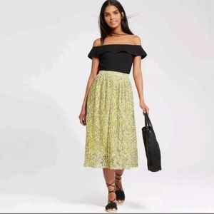 Who What Wear yellow floral pleated midi skirt